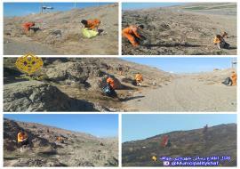 عملیات پاکسازی و جمع آوری زباله های ورودی شهر خواف