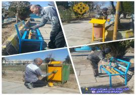 عملیات رنگ آمیزی نیمکت ها و سطل های زباله میدان معلم