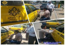 نصب برچسب جهت شناسایی و ساماندهی خودروهای تاکسی درون شهری