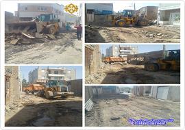 جمع آوری نرده ها و حفاری خیابان شهاب 6 در راستای بهسازی خیابان مذکور