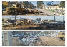 اجرای عملیات خاکی و جدول گذاری میدان آسباد