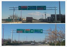 عملیات نصب دو عدد تابلوی دروازه ای راهنمای مسیر در ورودی های شهر خواف