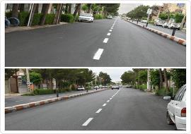 رنگ آمیزی خطوط راهنمایی خیابان حافظ ابرو
