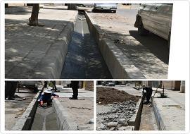 کف سازی و اصلاح جوی آب خیابان بهار و شهید کارگزار محله لاج