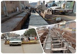 ادامه عملیات احداث کانال دفع آبهای سطحی خیابان مسجد جامع