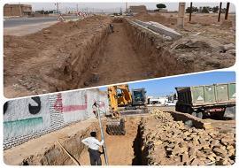 حفاری جهت ادامه احداث کانال دفع آبهای سطحی بلوار فردوسی