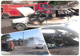 مهار آتش سوزی خودرو خیابان سعدآباد